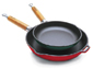 Paderno World Cuisine Chasseur Cast-Iron Frying Pan with Wooden Handle
