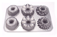 "Fat Daddio's Noble Variety Mini Bundt Pans, Set of 6 Petites, 14 1/2"" x 10"", Cast Aluminum"