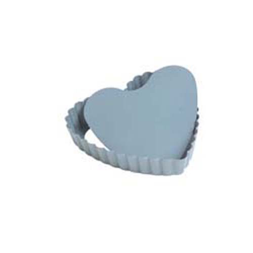 Fox Run Fluted Non Stick Mini Loose Removable Bottom Heart Quiche Pan, 4