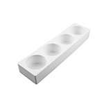 "Silikomart White Silicone Cylinder Mold, 4 Cavities 3-1/8"" x 1-3/4"" High"